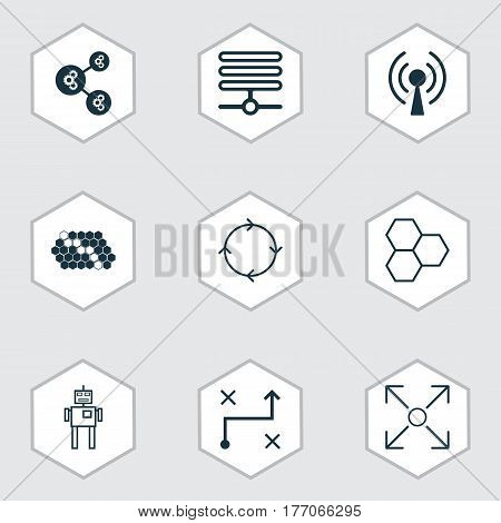 Set Of 9 Machine Learning Icons. Includes Information Components, Algorithm Illustration, Branching Program And Other Symbols. Beautiful Design Elements.