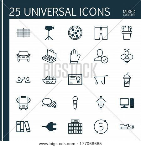 Set Of 25 Universal Editable Icons. Can Be Used For Web, Mobile And App Design. Includes Elements Such As Resort Development, Soda, Boat And More.