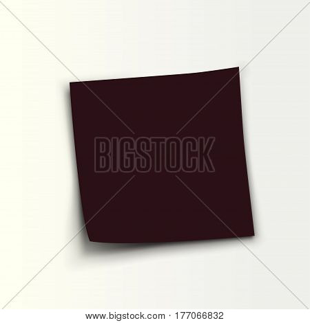 illustration of black color paper list lying on white background with shadow