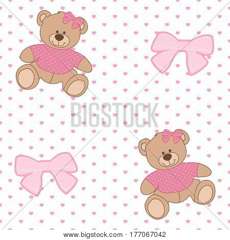 Seamless pattern with teddy bear. Colorful illustrations for textile wallpaper and background. Vector illustration