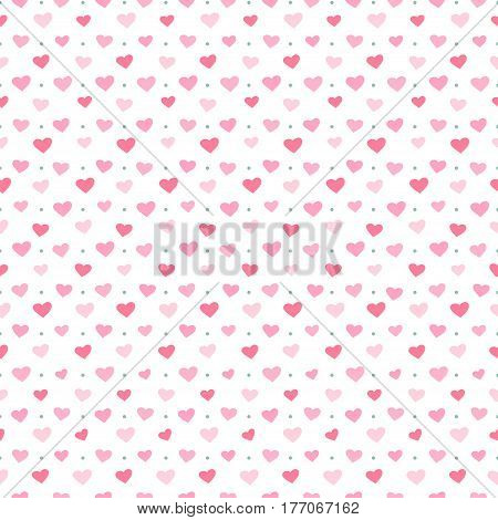 Seamless pattern with pink hearts. Colorful illustrations for textile wallpaper and background. Vector illustration
