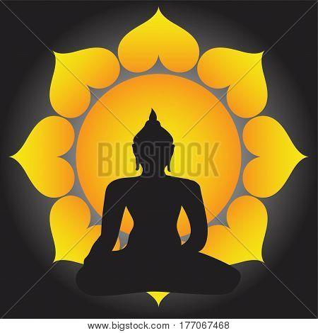 Sitting Buddha silhouette over sun background. Vector illustration. Vintage decorative composition. Indian, Buddhism, Spiritual motifs. Tattoo, yoga, spirituality.
