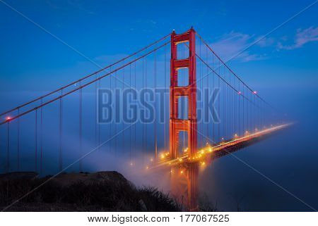 Golden Gate Bridge at blue hour time