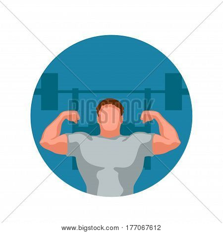 illustration of athlete in gym icon isolated on white background