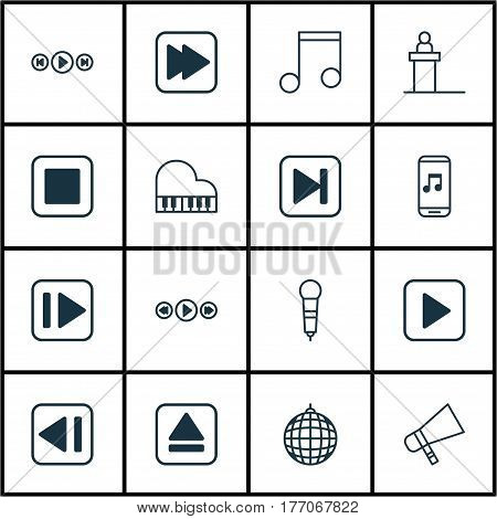Set Of 16 Music Icons. Includes Stop Button, Microphone, Audio Mobile And Other Symbols. Beautiful Design Elements.