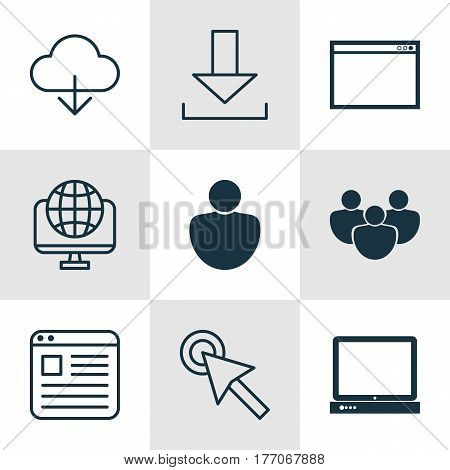 Set Of 9 Online Connection Icons. Includes Website Page, Human, Computer Network And Other Symbols. Beautiful Design Elements.