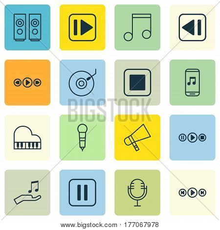 Set Of 16 Music Icons. Includes Octave, Mike, Mute Song And Other Symbols. Beautiful Design Elements.