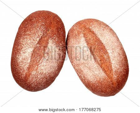 Two rye breads isolated on white background