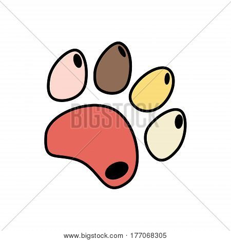 Cute funny silhouette of animal footprints on white background. Cats and dogs paw icon. Vector illustration.