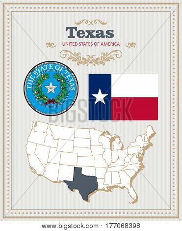 High detailed vector set with flag, coat of arms, map of Texas. American poster. Greeting card from United States of America. Colorful design