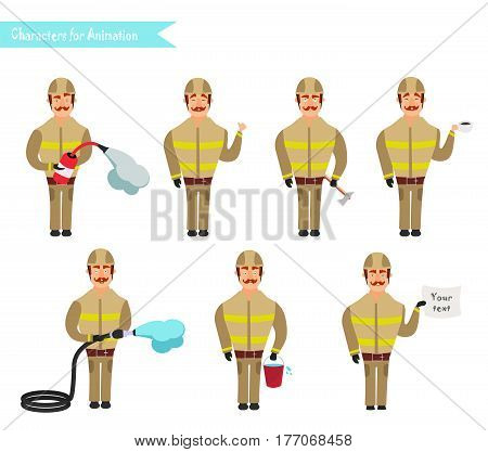 Set for animation of firefighters in uniform protective suit with axe fire hose cartoon vector illustration isolated on white background. Young firefighter fireman set. Parts of body template for animation.