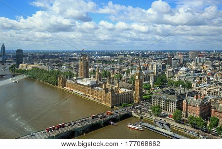 Aerial View of City of London, including Houses of Parliament with a nice cloudscape