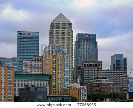Canary Wharf is the capital of Financial organisations in London.  England, 2016