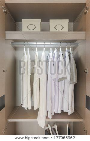 White Shirts Hanging On Rail In Wooden Wardrobe