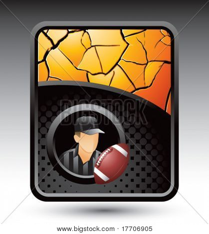 football referee on gold cracked background