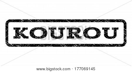 Kourou watermark stamp. Text caption inside rounded rectangle with grunge design style. Rubber seal stamp with dirty texture. Vector black ink imprint on a white background.