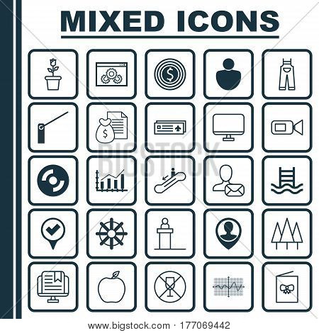 Set Of 25 Universal Editable Icons. Can Be Used For Web, Mobile And App Design. Includes Elements Such As Celebration Card, Forest, E-Study And More.