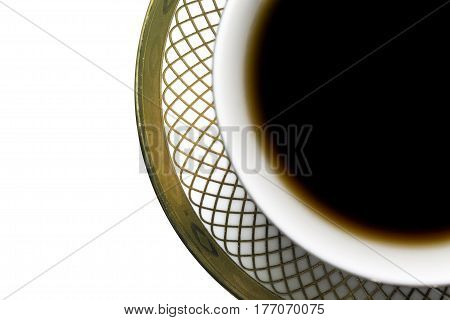 The morning coffee Cup with saucer white background