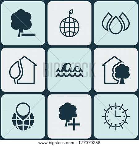 Set Of 9 Eco-Friendly Icons. Includes Ocean Wave, House, Delete Woods And Other Symbols. Beautiful Design Elements.