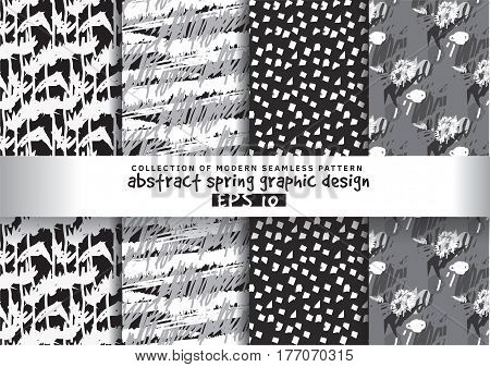 Set spring floral background grayscale seamless pattern. Hand Drawn textures. Monochrome vector illustration. EPS8