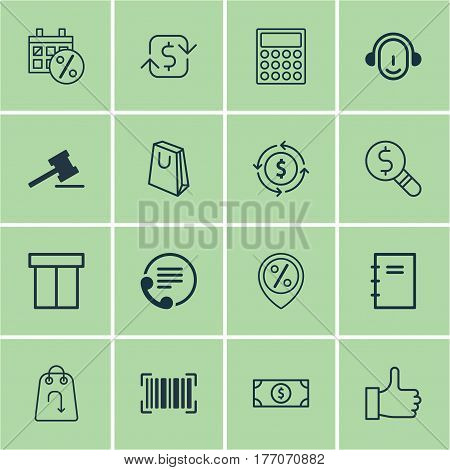 Set Of 16 E-Commerce Icons. Includes Gavel, Discount Location, Recurring Payements And Other Symbols. Beautiful Design Elements.