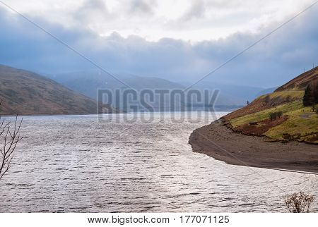 View on lake in Scottish landscape near Moffat, Scotland