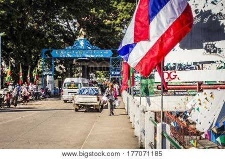 Mae Sai Thailand - 18 November 2010: Border crossing between Thailand and Myanmar at Mae Sai in the daytime