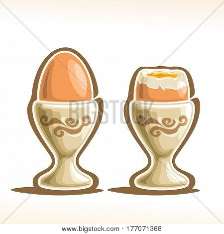 Vector illustration of Soft Boiled Egg in Holder: brown soft-boiled cooked eggs in cap, single whole and half open cut egg in cracked shell with yellow yolk and white protein in eggcup - sunny side.