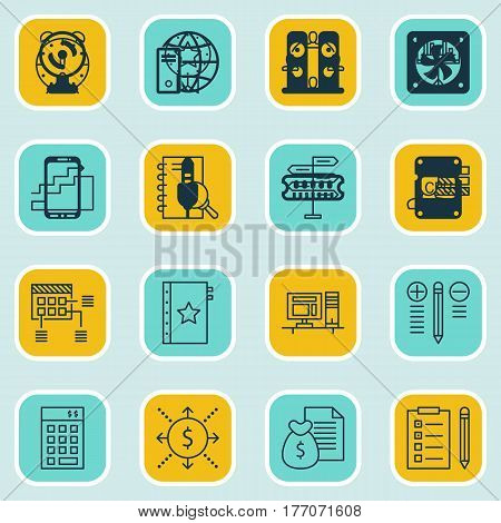 Set Of 16 Project Management Icons. Includes Present Badge, Money, Opportunity And Other Symbols. Beautiful Design Elements.