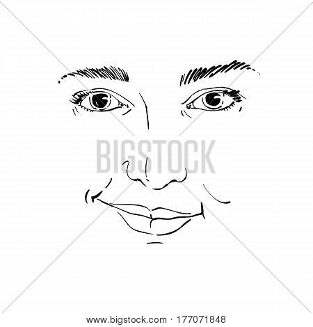 Vector drawing of distrustful woman face features. Black and white portrait of doubter lady do not lie to me.