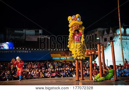 KORAT THAILAND - JANUARY 28 2017: group of people perform lion dance on column during Chinese new year's celebration in Nakhon Ratchasima downtown.