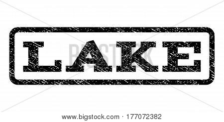 Lake watermark stamp. Text caption inside rounded rectangle frame with grunge design style. Rubber seal stamp with dirty texture. Vector black ink imprint on a white background.