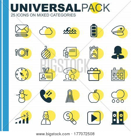 Set Of 25 Universal Editable Icons. Can Be Used For Web, Mobile And App Design. Includes Elements Such As Successful Investment, Locate, Edit Mail And More.