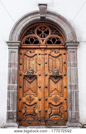Ornate architectural feature door in Cuenca Ecuador