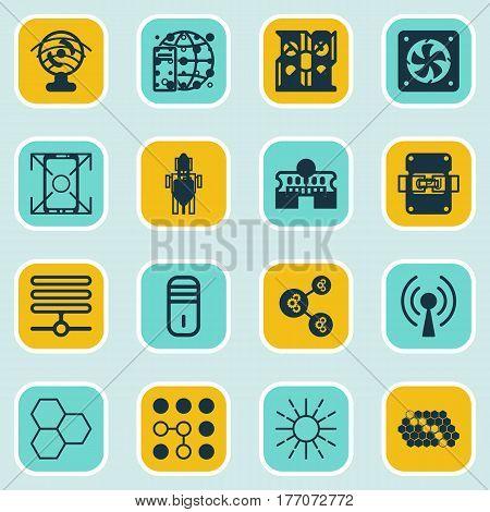 Set Of 16 Robotics Icons. Includes Information Base, Lightness Mode, Hive Pattern And Other Symbols. Beautiful Design Elements.