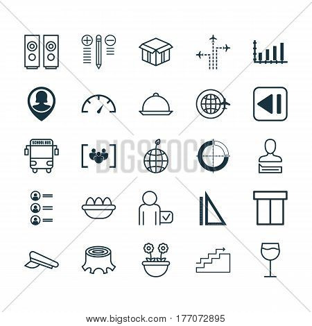 Set Of 25 Universal Editable Icons. Can Be Used For Web, Mobile And App Design. Includes Elements Such As Box, Speed Checker, Transport Vehicle And More.