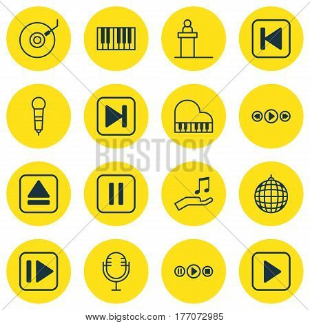 Set Of 16 Multimedia Icons. Includes Extract Device, Song UI, Mike And Other Symbols. Beautiful Design Elements.