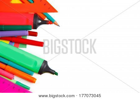 school tools on a white background, back to school