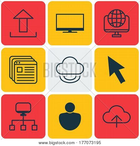 Set Of 9 Web Icons. Includes Human, Website Bookmarks, Display And Other Symbols. Beautiful Design Elements.