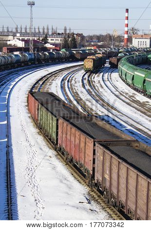 industrial view with lot of freight railway trains waggons. Editorial image