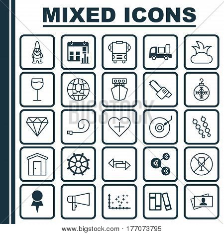 Set Of 25 Universal Editable Icons. Can Be Used For Web, Mobile And App Design. Includes Elements Such As Bush, Gramophone, Gasoline Cutter And More.
