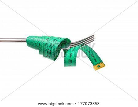 Diet concept. Fork and measuring tapes isolated on white background