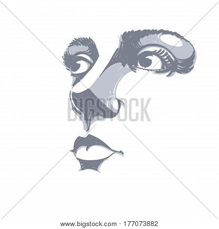 Monochrome silhouette of smiling attractive lady face features. Hand-drawn vector illustration of woman visage outline. Caucasian type.