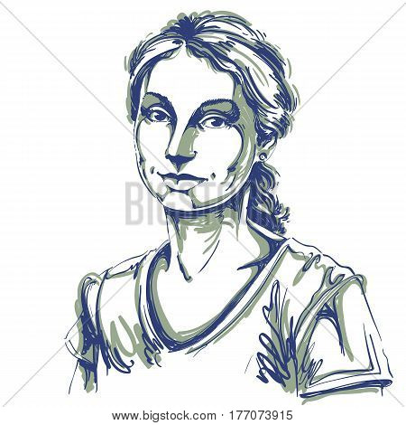 Artistic hand-drawn vector image black and white portrait of delicate loving peaceful girl. Emotions theme illustration. Gentle and dreamy woman image.