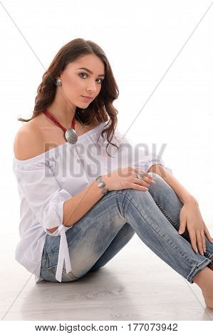 pretty long hair model wearing luxury silver accessory and jewelry. Girl Isolated on white background