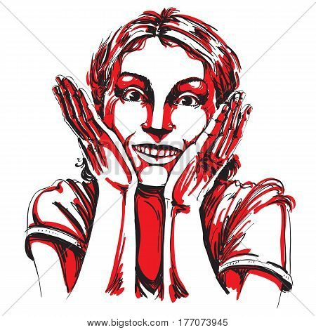 Hand-drawn portrait of white-skin surprised happy woman gesturing. Face emotions theme illustration. Beautiful shocked lady posing on white background.