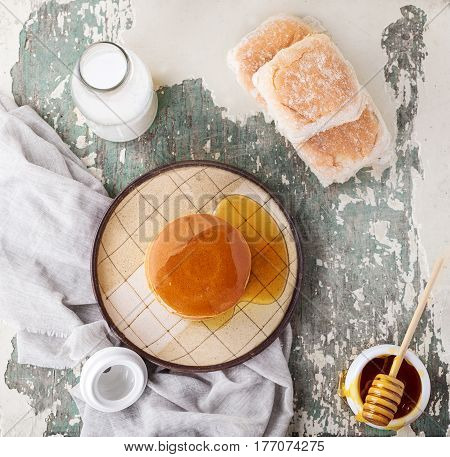 Pancakes With Honey And Milk