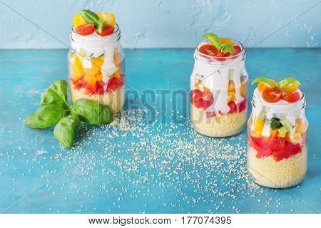 Cous Cous With Vegetables In Mason Jar