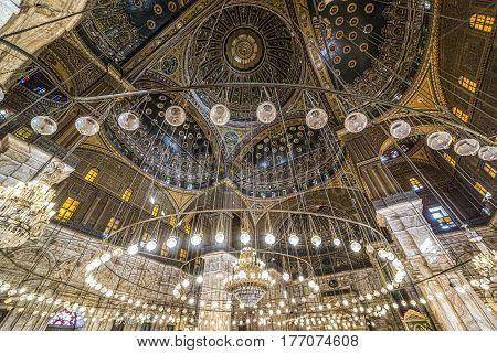 Cairo Egypt - March 9 2017: Interior of the Mohamed Ali mosque located in the Saladin Citadel on the Mokkatam hill in Cairo.