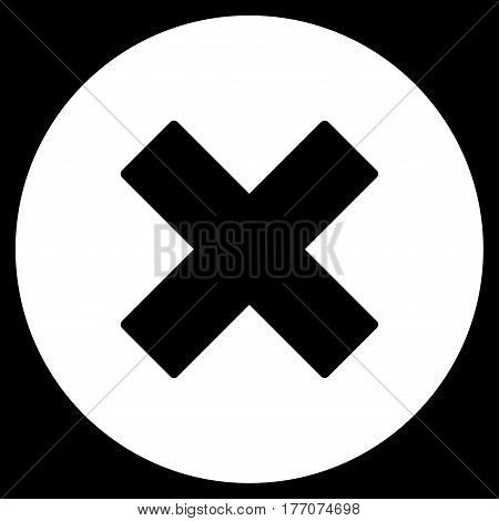 Cancel vector icon. Flat white symbol. Pictogram is isolated on a black background. Designed for web and software interfaces.